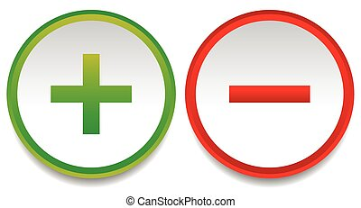 Plus and minus signs, symbols, vector eps 10