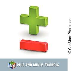 Plus and minus symbols - Three dimensional plus and minus...