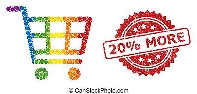 plus, arc-en-ciel, timbre, collage, 20%, charrette, achats, caoutchouc
