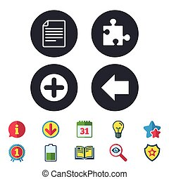 Plus circle and puzzle signs. File, arrow.