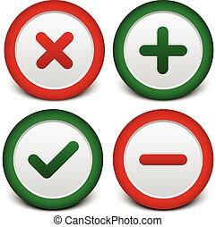 plus, croix, checkmark, moins, signes
