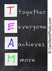 plus, dessin, craie, ensemble, équipe, everyone, réalise