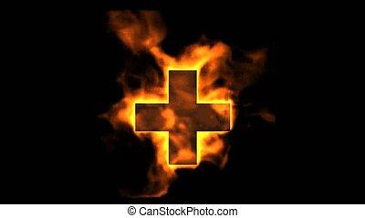 plus., feuer, brennender, zeichen, rotes kreuz