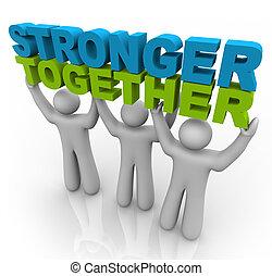 plus fort, ensemble, -, levage, les, mots