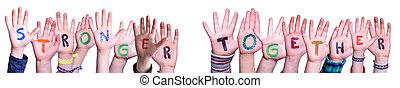 plus fort, isolé, ensemble, bâtiment, fond, mot, mains, enfants