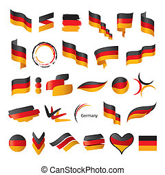plus grand, drapeau, vecteur, allemagne, collection