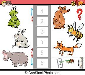 plus grand, jeu, gosses, dessin animé, animal