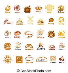 plus grand, logos, boulangerie, vecteur, collection