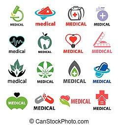plus grand, logos, monde médical, vecteur, collection