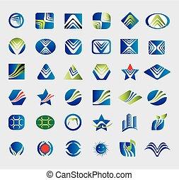 plus grand, logos, vecteur, collection