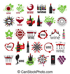 plus grand, logos, vecteur, collection, vin