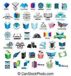 plus grand, logos, vecteur, livres, collection