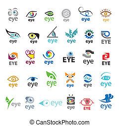 plus grand, logos, vecteur, oeil, collection