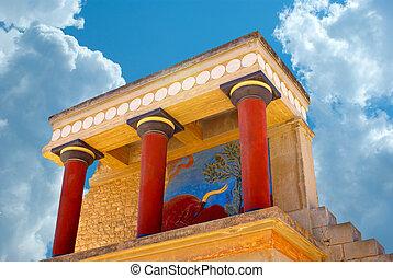 plus grand, palais, centre, âge, palais, politique, site, cérémonial, minoan, culture, civilisation, archéologique, knossos, grèce, crète, crète, bronze
