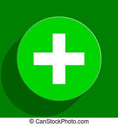 plus green flat icon