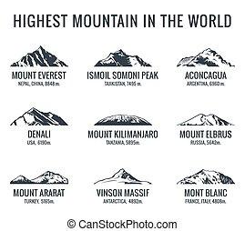 plus haut, montagnes, mondiale, vecteur, outdoors., affiches, logos, touriste, icônes, set., aventures, montagne