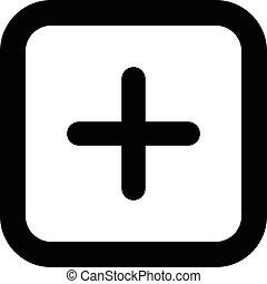 plus, icône, signe, vecteur