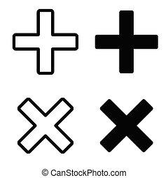 plus, icône, signe