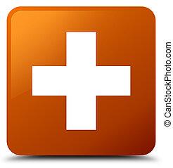 Plus icon brown square button