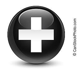 Plus icon glassy black round button