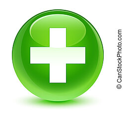 Plus icon glassy green round button