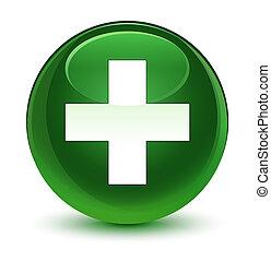 Plus icon glassy soft green round button