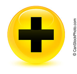 Plus icon glassy yellow round button