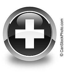 Plus icon glossy black round button