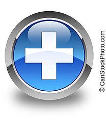 Plus icon glossy blue round button 2