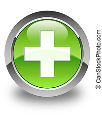 Plus icon glossy green round button 2
