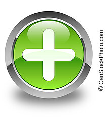 Plus icon glossy green round button