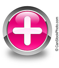 Plus icon glossy pink round button