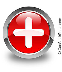 Plus icon glossy red round button