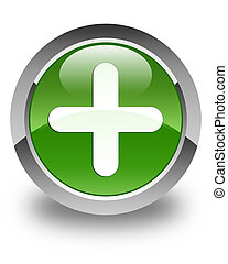 Plus icon glossy soft green round button