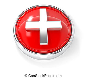 Plus icon on glossy red round button