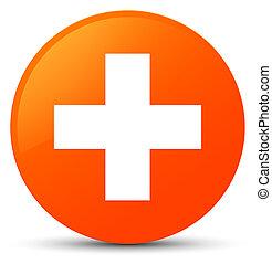 Plus icon orange round button