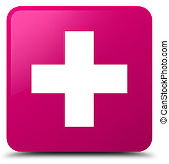 Plus icon pink square button