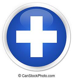 Plus icon premium blue round button