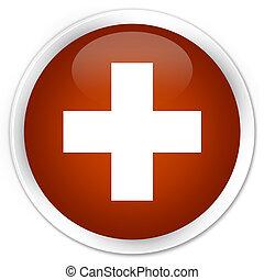 Plus icon premium brown round button