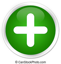 Plus icon premium green round button