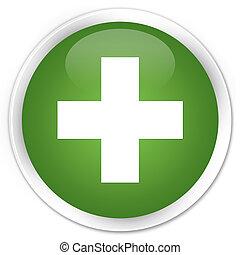 Plus icon premium soft green round button