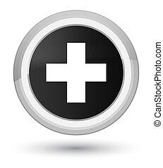 Plus icon prime black round button