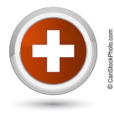 Plus icon prime brown round button