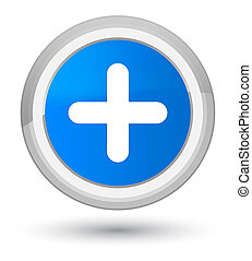 Plus icon prime cyan blue round button