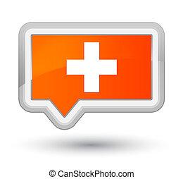Plus icon prime orange banner button