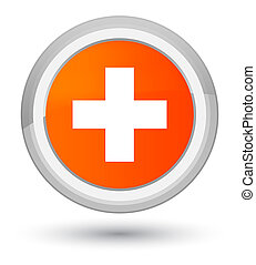 Plus icon prime orange round button