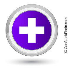 Plus icon prime purple round button