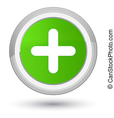 Plus icon prime soft green round button