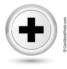 Plus icon prime white round button