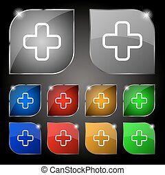 Plus icon sign. Set of ten colorful buttons with glare. Vector
